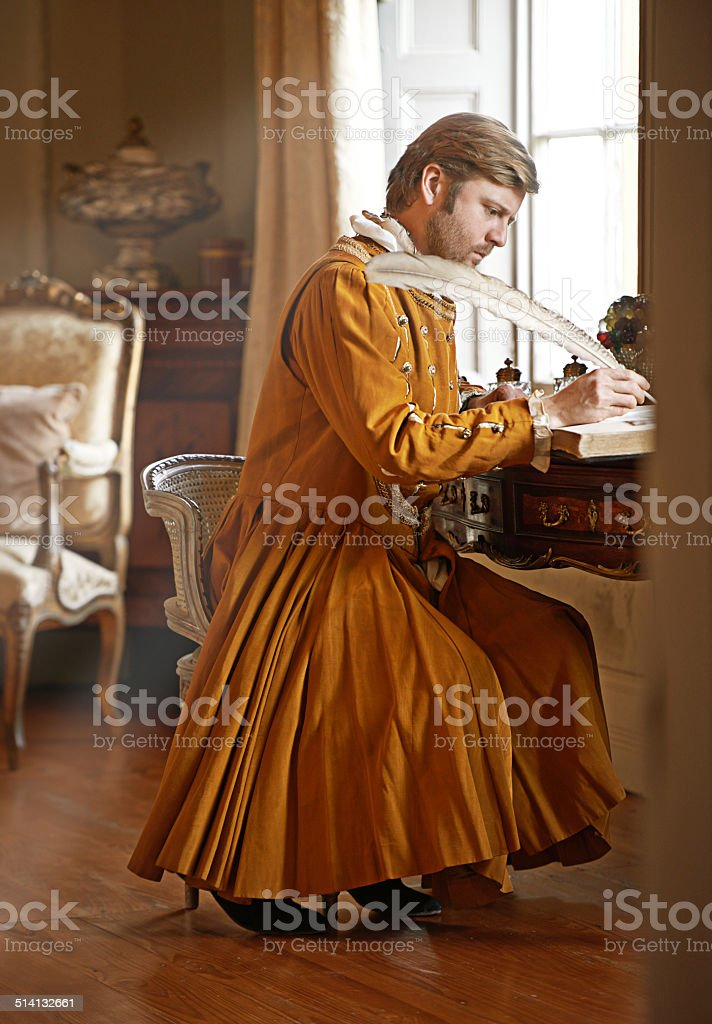 An urgent letter to the king! stock photo