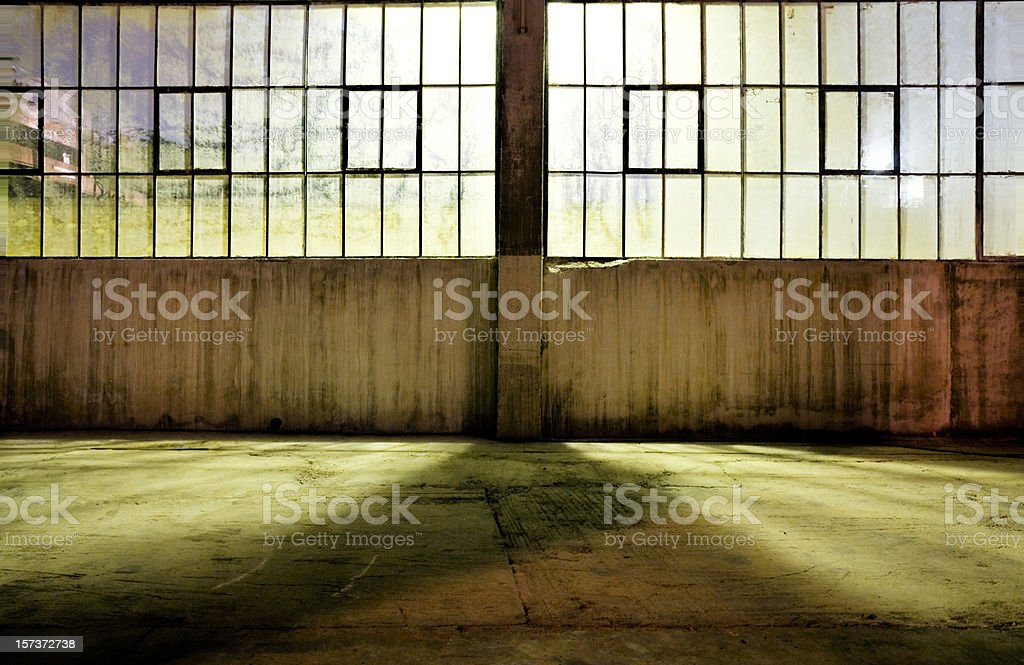 An view of an old warehouse at night  stock photo