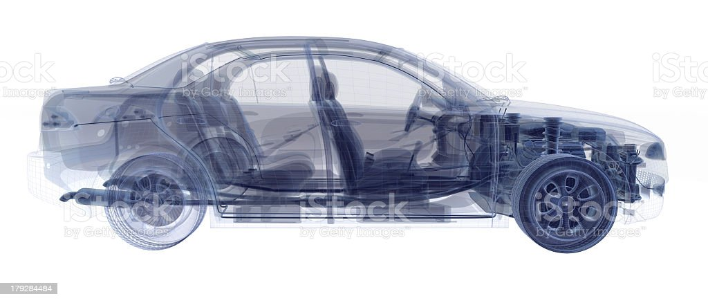 An X-ray image of a four door sedan royalty-free stock photo