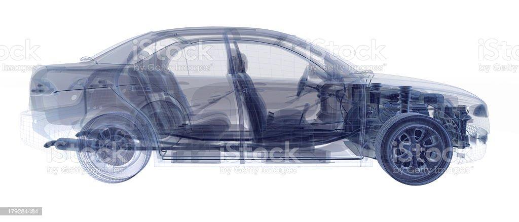 An X-ray image of a four door sedan stock photo