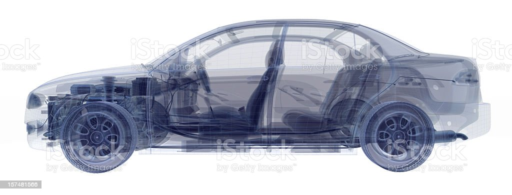 An x-ray of a car showing the engine and seats stock photo