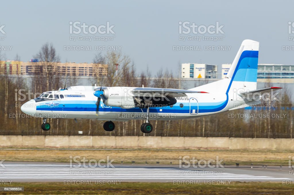 An-24 Pskov avia airlines, airport Pulkovo, Russia Saint-Petersburg May 2017. stock photo
