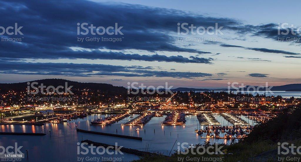 Anacortes WA. Night View of marina and downtown. stock photo
