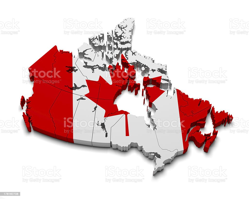Сanada 3D flag map on white stock photo