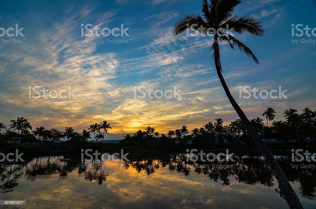 Anaehoomalu Bay at sunrise stock photo