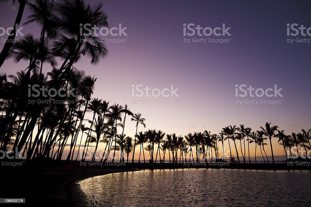 Anaehoomalu Bay Sunset stock photo