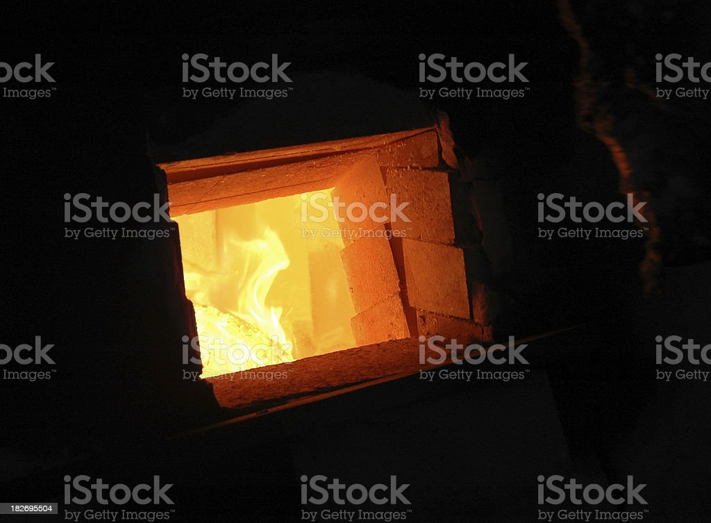 Anagama Kiln Fire stock photo