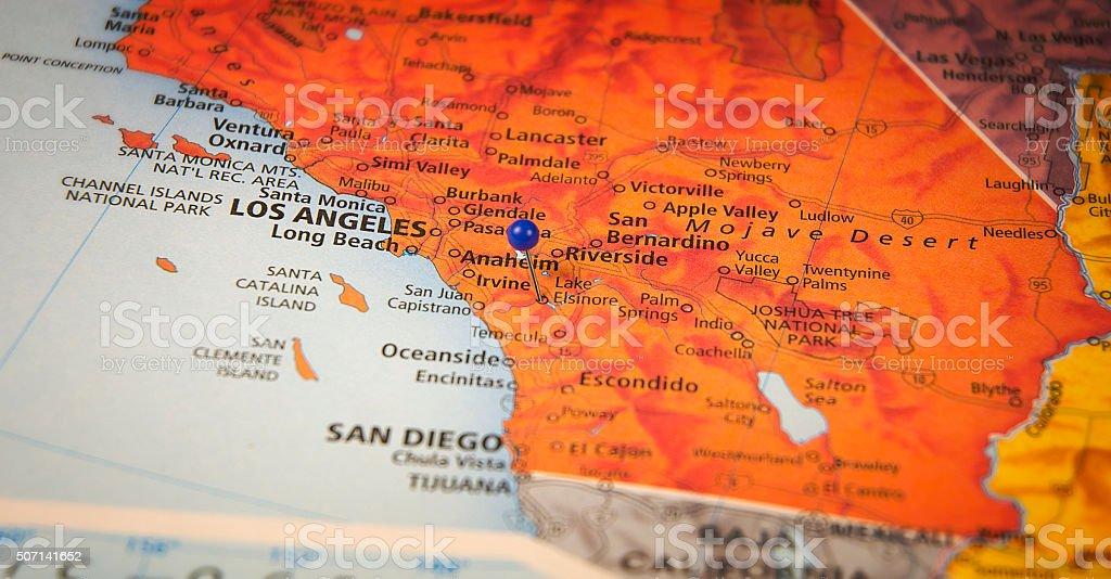 Anaheim California Travel Road Map Macro stock photo