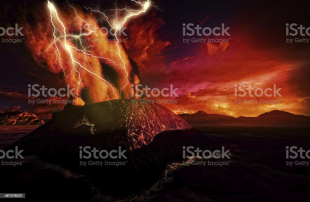 Anak krakatau erupting red sky lighting in lava black ground stock photo