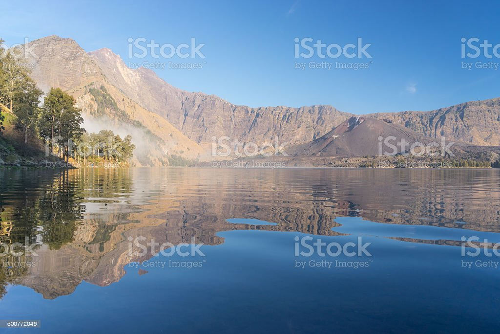 Anak lake and baby Rinjani stock photo