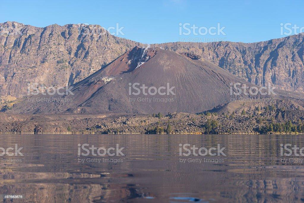 Anak lake and baby Rinjani volcano mountain stock photo