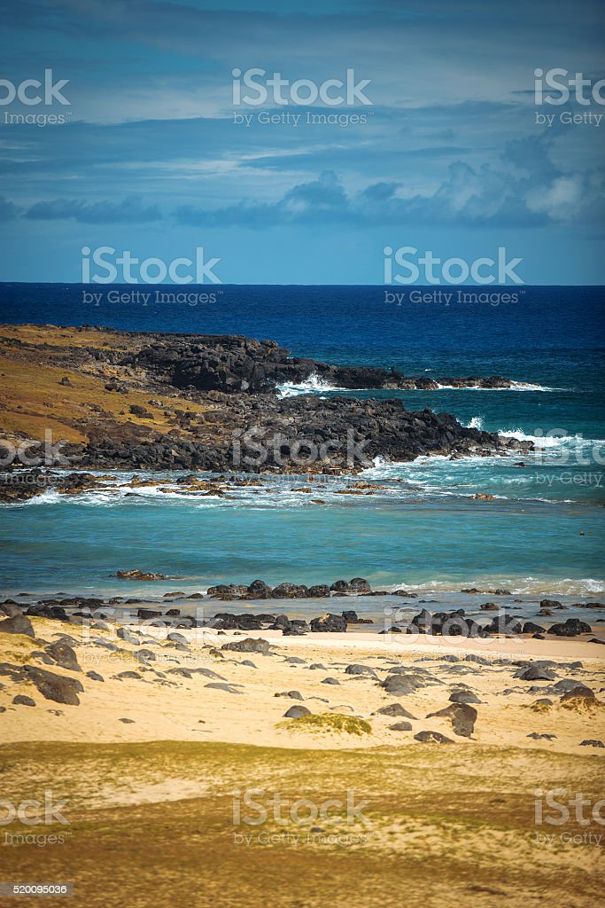 Anakena, a white coral sand beach stock photo