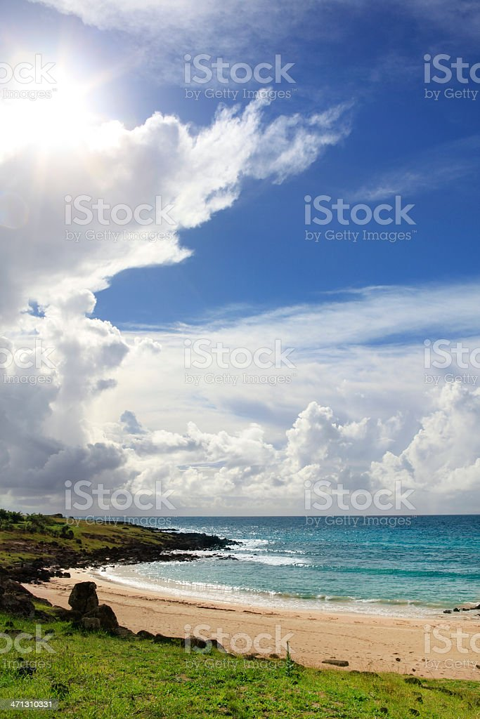 Anakena Beach - Easter Island stock photo