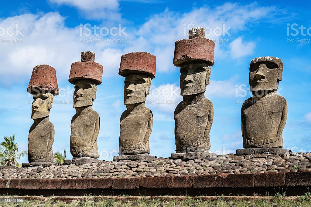 Anakena Beach Moai Easter Island Rapa Nui stock photo