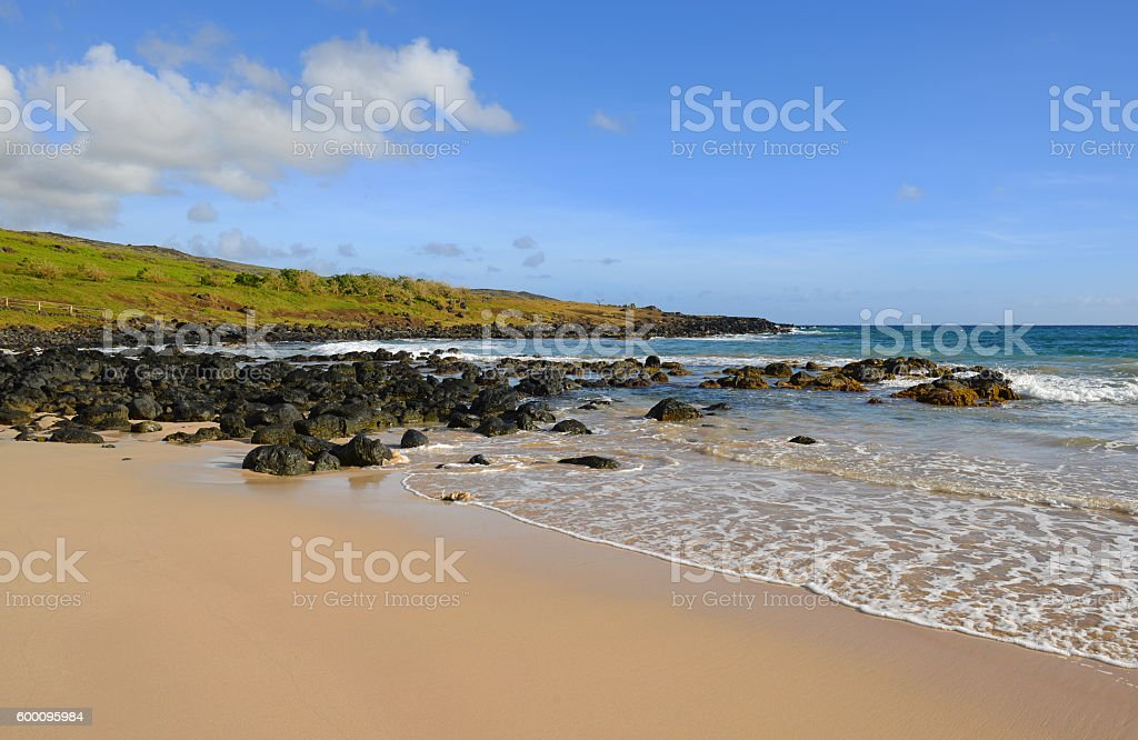 Anakena Beach stock photo
