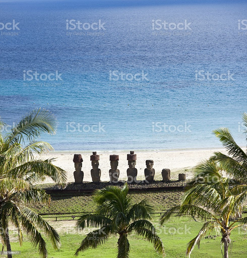 Anakena beach with Moai on Easter Island Chile stock photo