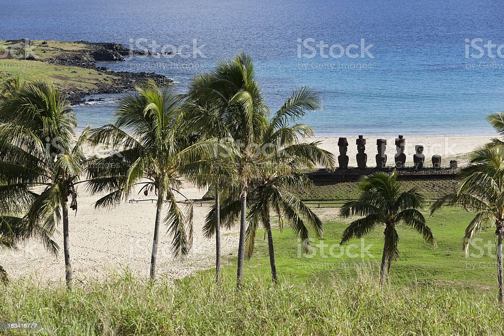 Anakena Beach with palm trees on Easter Island Chile stock photo