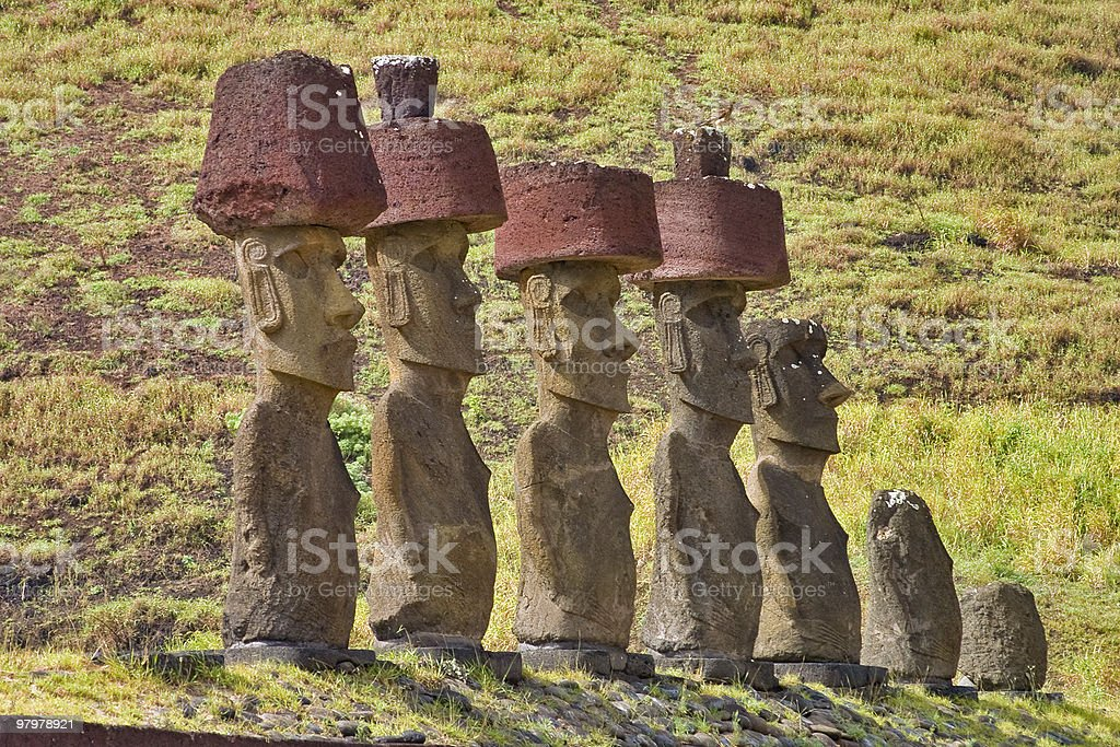 Anakena Hats, Easter Island stock photo