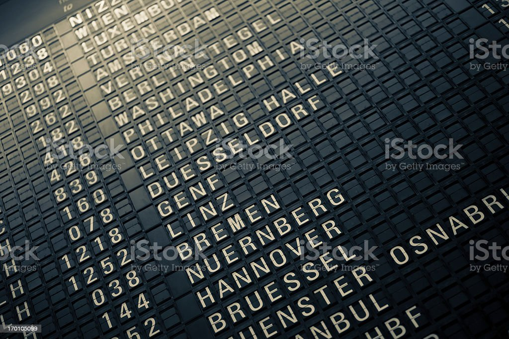 Analog Airport Departure Board stock photo