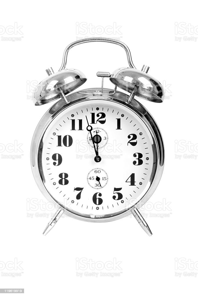 Analog alarm clock colored in silver and isolated on white royalty-free stock photo