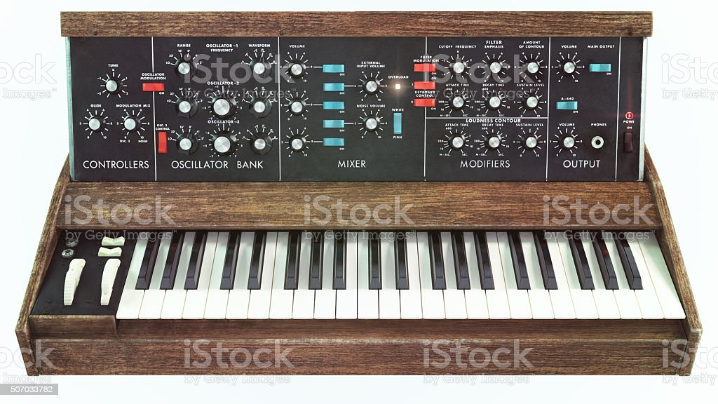 Analog classic synthesizer front view stock photo