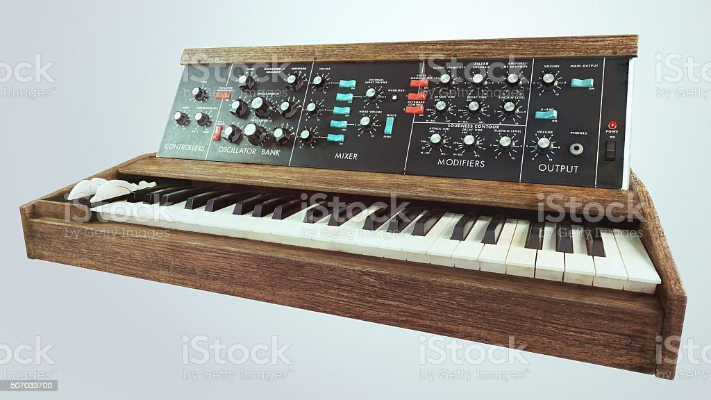 Analog classic synthesizer perspective view stock photo