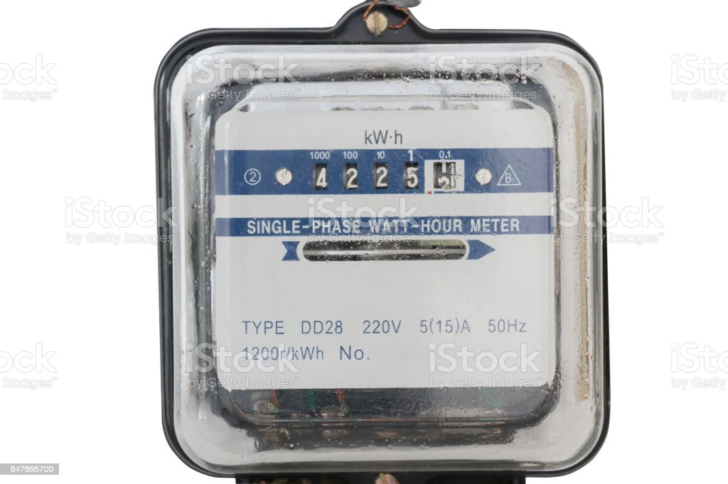 Analog electric meter isolated on white background Electricity consumption ,clipping path stock photo