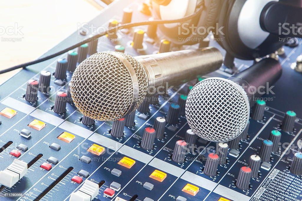 Analog music recording equipment. stock photo