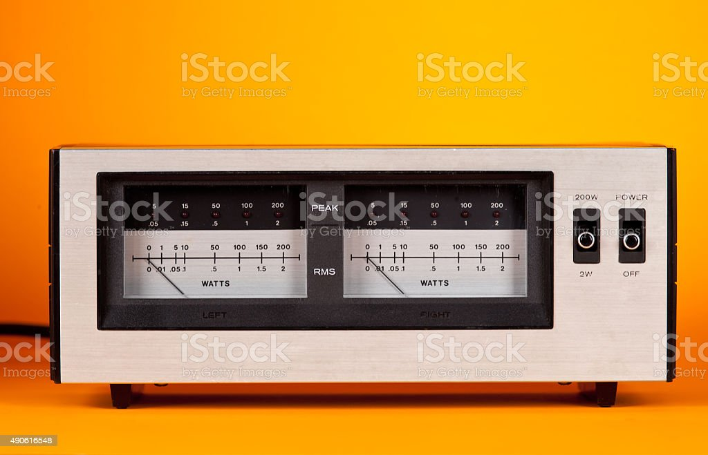 Analog Peak Audio Power VU Meter with needle and LED stock photo
