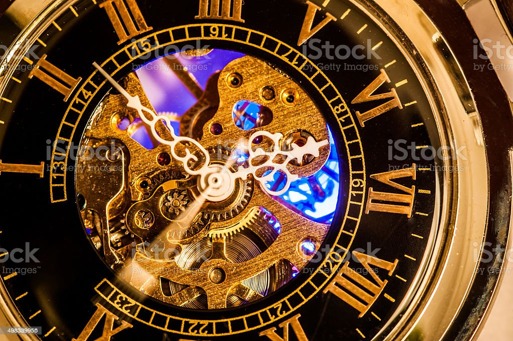 Analog Pocket Watch with Roman Numbers stock photo