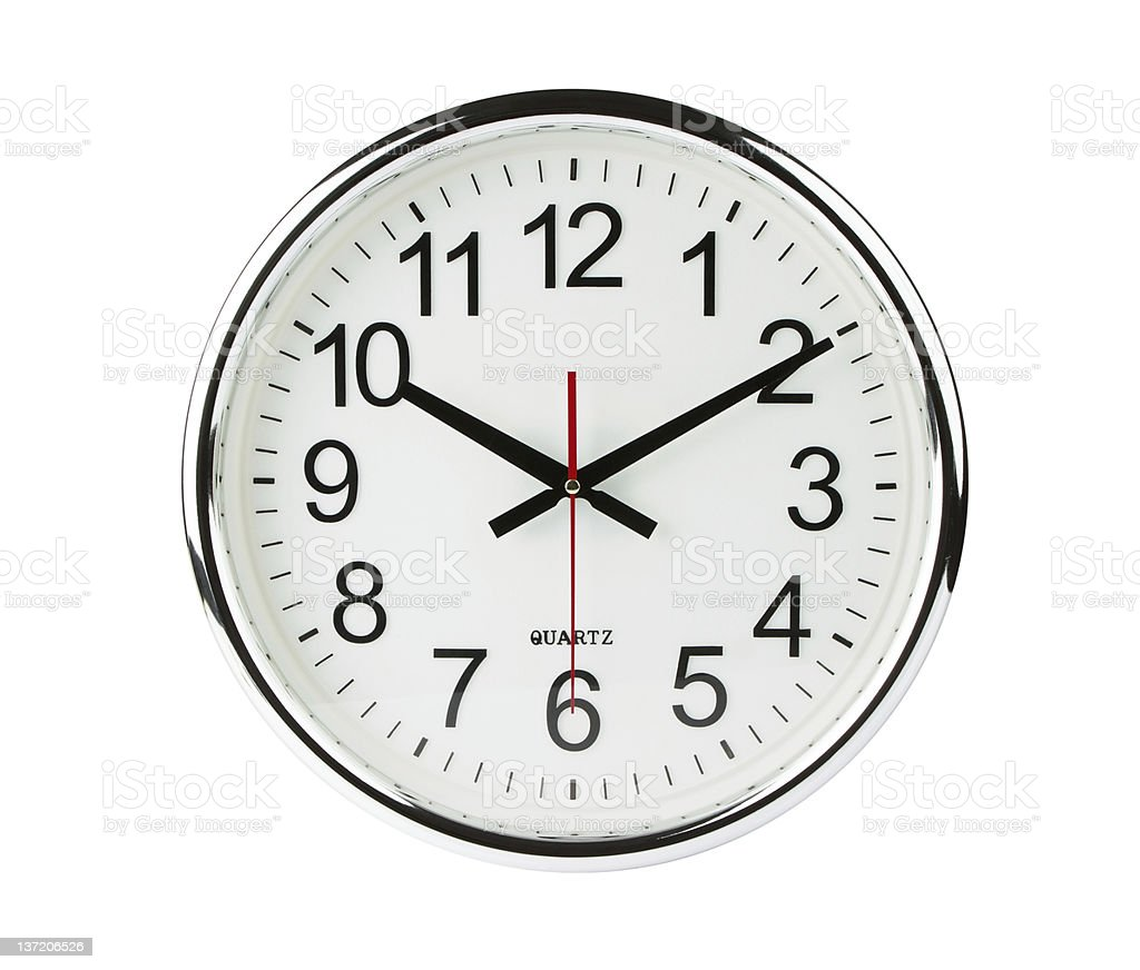 Analog quartz clock with clipping path stock photo