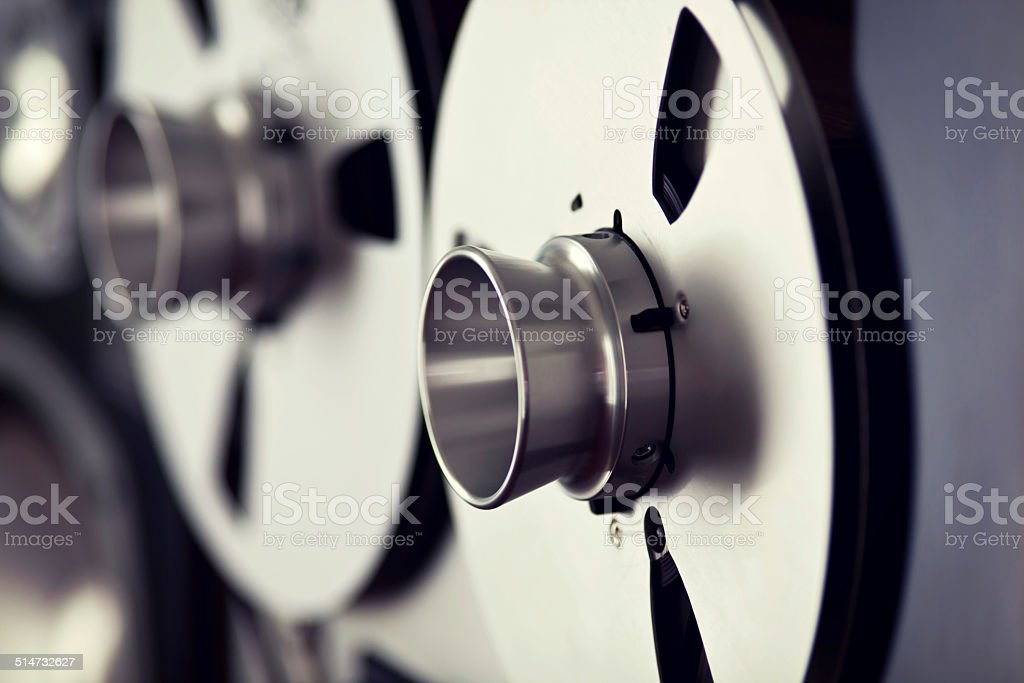 Analog Stereo Open Reel Tape Deck Recorder Spool stock photo