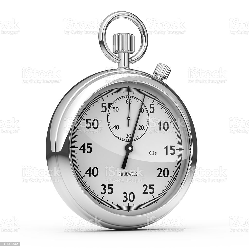 Analog Stopwatch isolated on white - 3d render stock photo