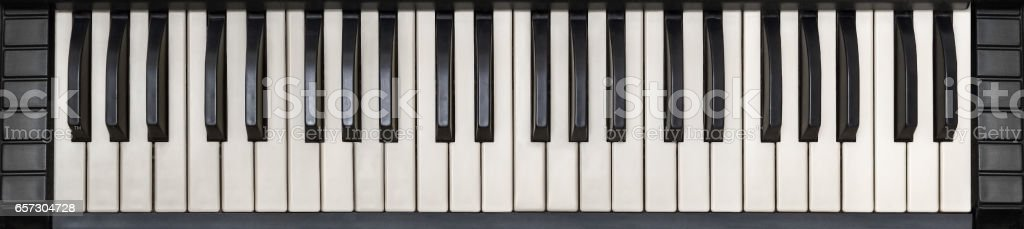Analog synthesizer keyboard, top view stock photo