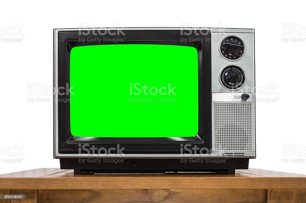 Analog Television on White with Chroma Key Green Screen stock photo