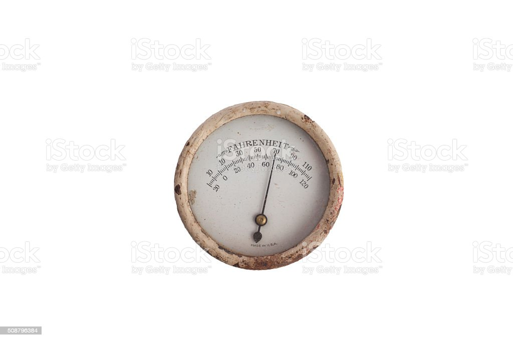 Analog Vintage Rusted Metal Circular Thermometer stock photo