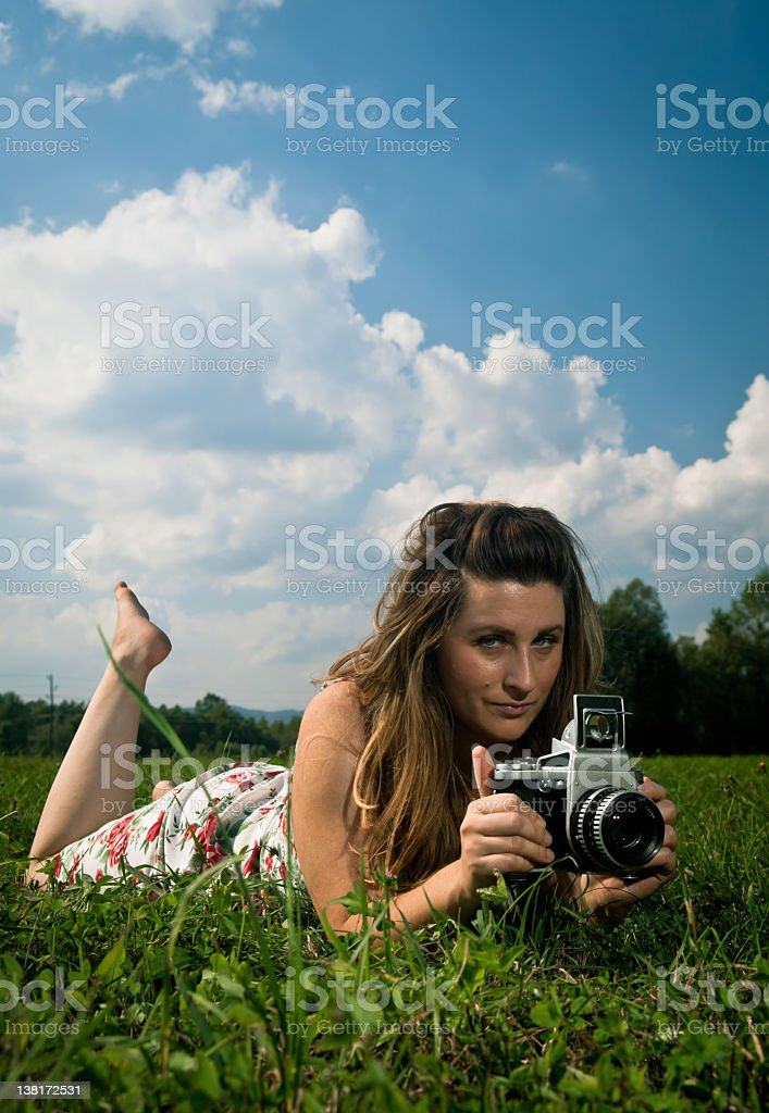 Analog vs Digital Woman royalty-free stock photo