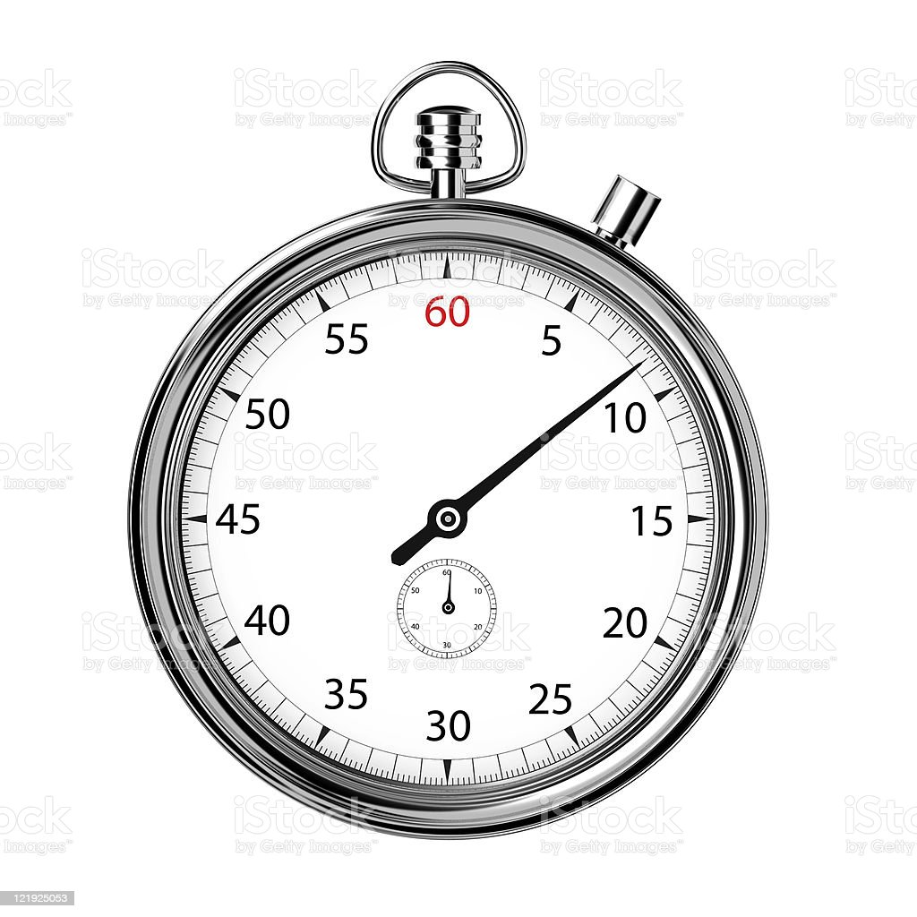 analogue stopwatch front stock photo