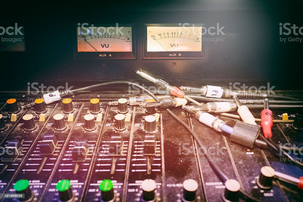 Analogue Studio Mixing Desk and Cables stock photo