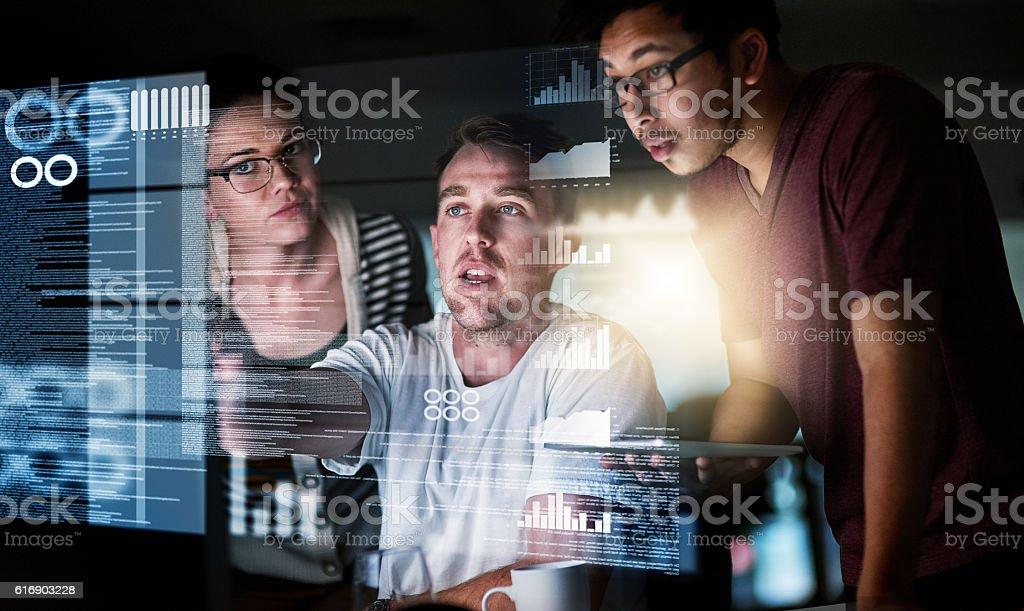 Analysing the data stock photo
