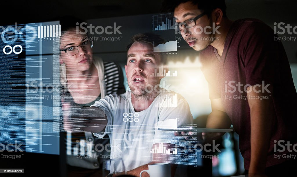 Analysing the data stock photo