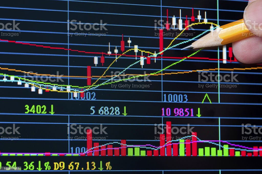Analysis colorful stock chart on monitor royalty-free stock photo