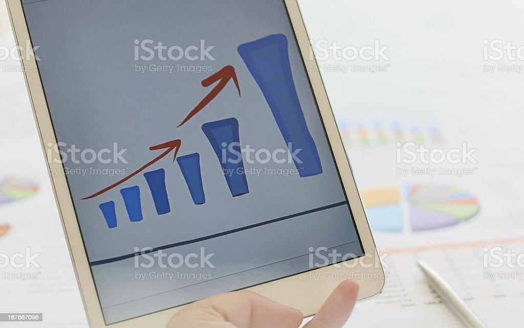 Анализ финансового роста планирования график на ipad tablet Стоковые фото Стоковая фотография