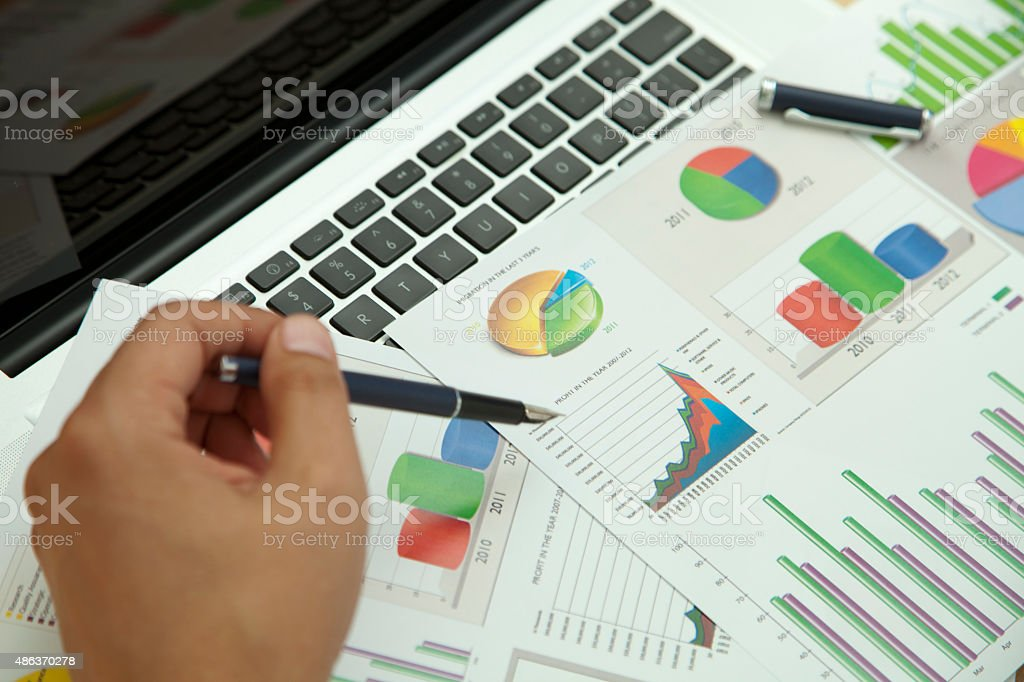 analysis of documents stock photo