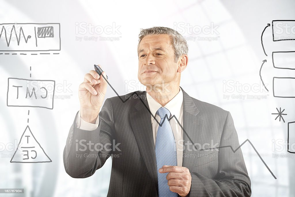 Analyst Making a Financial Graph royalty-free stock photo