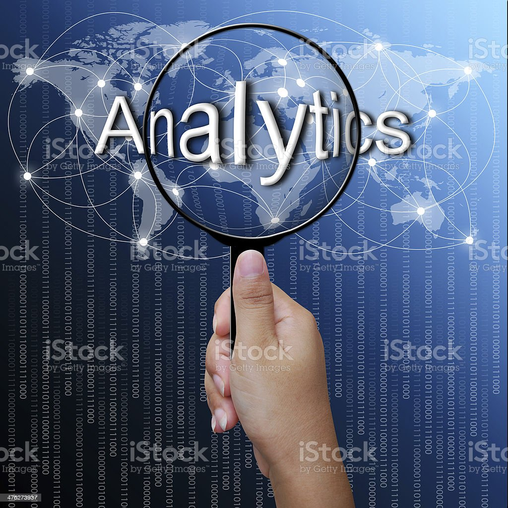 Analytic, word in Magnifying glass,network background royalty-free stock photo