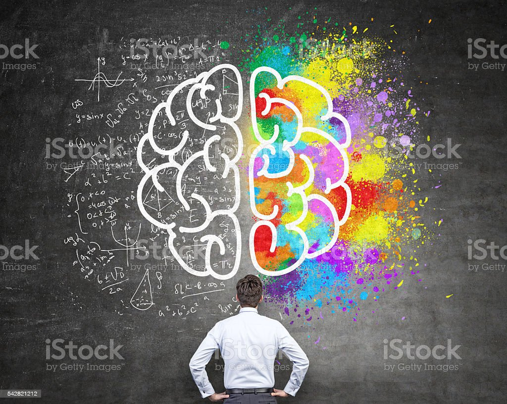 Analytical and creative thinking stock photo