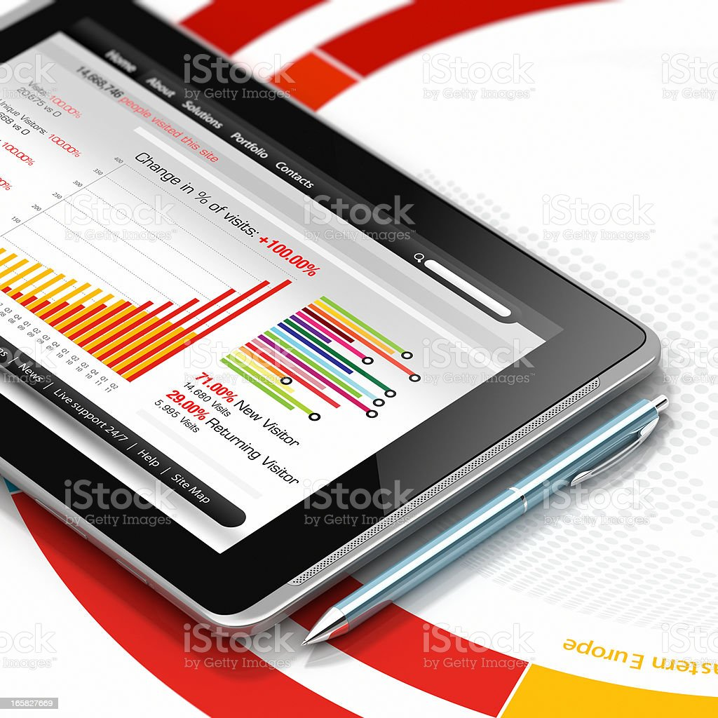 Analytical graphs on tablet PC stock photo