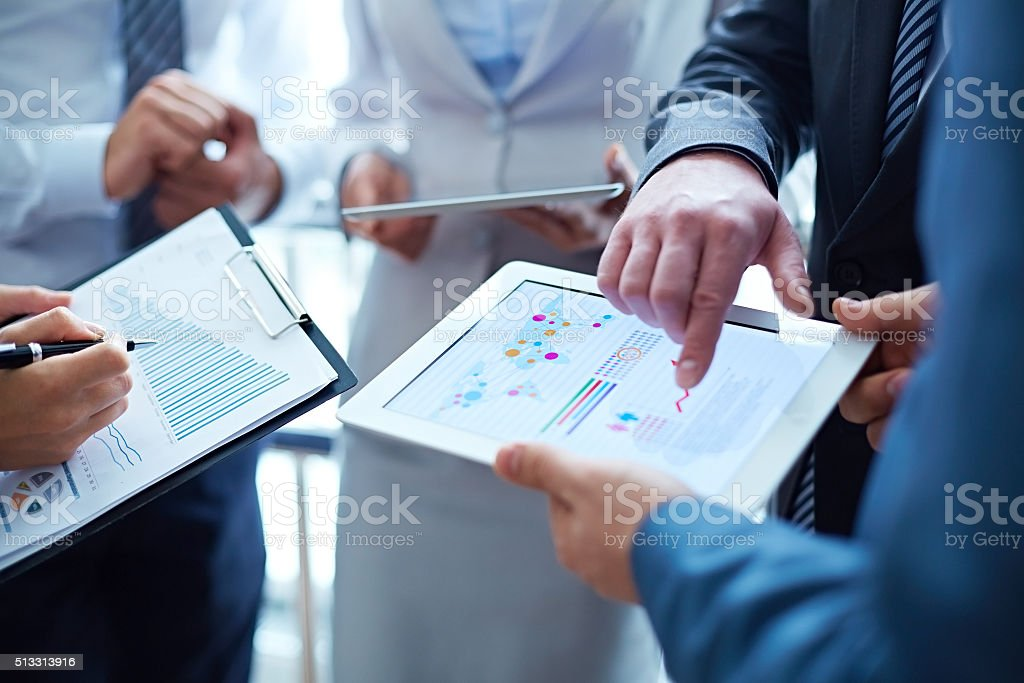 Analytical work stock photo