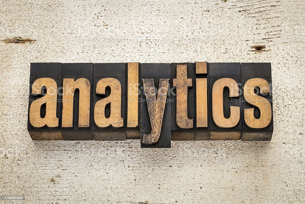 analytics word in wood type royalty-free stock photo